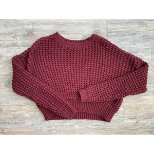 PACSUN Cropped Burgundy Sweater